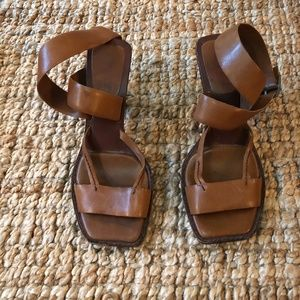 Vintage DKNY Cognac Leather Wrapped Sandal